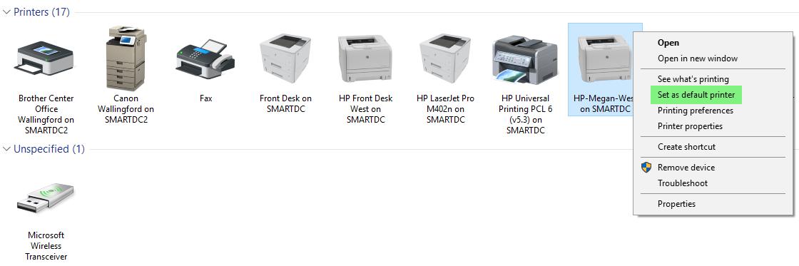 Change default Windows printer – The Smart Desk